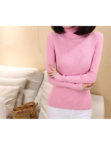 Women's Long Sleeves Wool Pullover - Solid Turtleneck