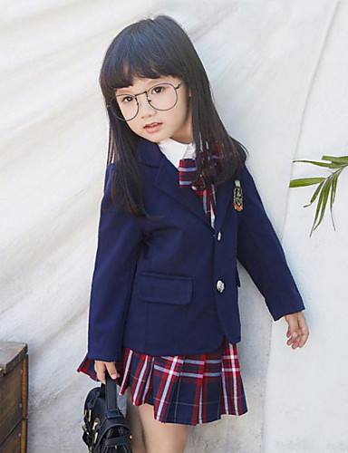 Girls' Solid Suit & Blazer,Rayon Spring Fall Long Sleeve