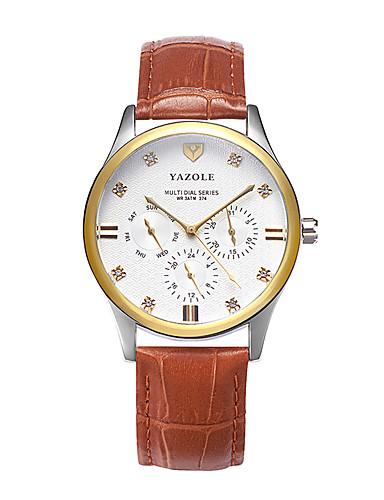 Homens Relógio Elegante Relógio de Moda Quartzo Relógio Casual Couro Banda Casual Marrom Cáqui