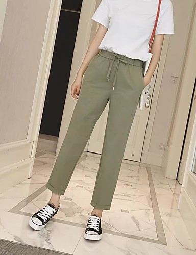 Women's Mid Rise strenchy Loose Chinos Pants,Street chic Relaxed Pure Color Solid