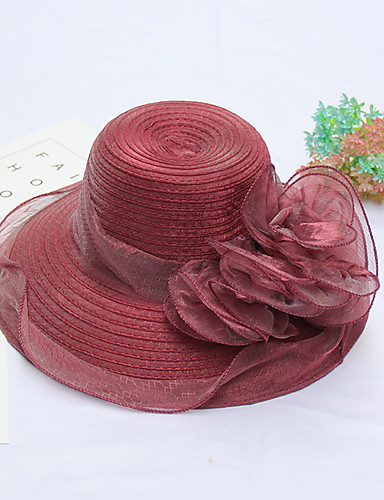 Women's Hat Flower Organza Bucket Hat Floppy Hat - Solid Colored, Mixed Color
