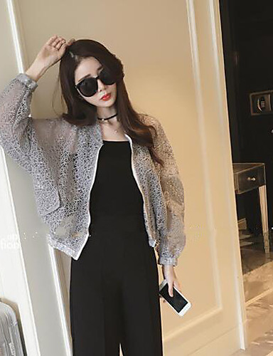 Women's Daily Modern/Comtemporary Summer Jacket,Solid Stand Long Sleeve Short Others