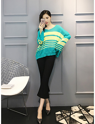 Women's Daily Casual Spring Blouse Pant Suits,Stripe Round Neck Long Sleeve Spandex Micro-elastic