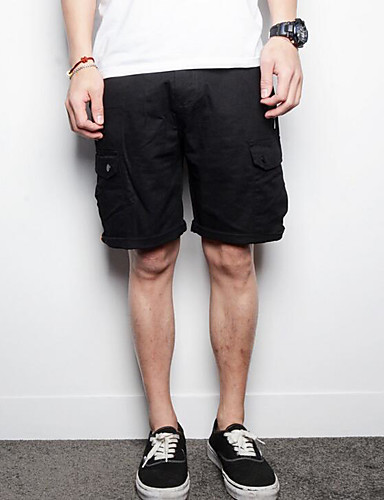 Men's Low Rise Inelastic Straight Relaxed Pants,Simple Solid Cotton Summer