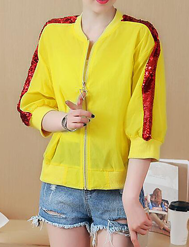 Women's Daily Modern/Contemporary Summer Jacket,Print Stand Long Sleeve Regular Others