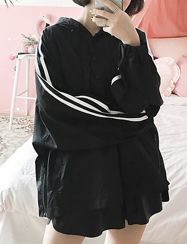 Women's Daily Modern/Comtemporary Spring Trench Coat,Striped Hooded Long Sleeve Long Polyester Others