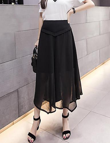 Women's High Rise Inelastic Culotte Pants,Simple Wide Leg Solid