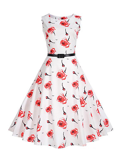 Women's Daily Holiday Going out Street chic Sheath Swing Dress,Floral Round Neck Knee-length Sleeveless Polyester Summer Mid Rise