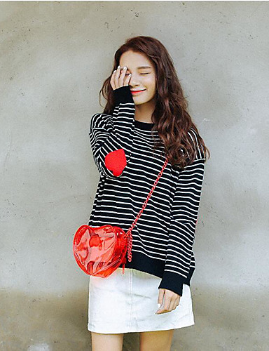Women's Daily Going out Cute Regular Pullover,Striped Round Neck Long Sleeves Others Fall Medium Micro-elastic