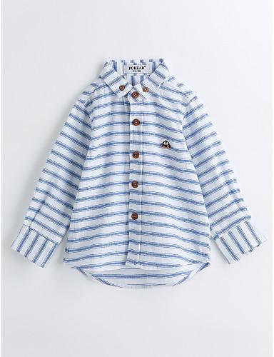 Boys' Animal Print Stripes Shirt,Cotton Spring Fall Long Sleeve Blue