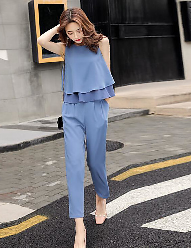 Women's Daily Casual Contemporary Summer Blouse Pant Suits,Solid Round Neck Sleeveless