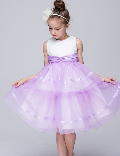 Princess Knee Length Flower Girl Dress - Satin Sleeveless Jewel Neck with Ruffles by Bflower