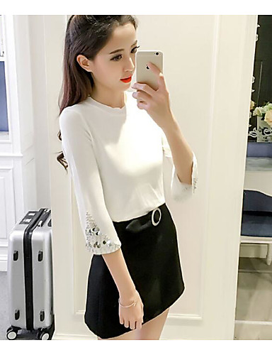 Women's Daily Short Cardigan,Solid Crew Neck 3/4 Length Sleeves Cotton Summer Medium Micro-elastic