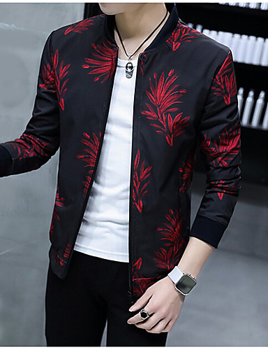 Men's Daily Casual Fall Jacket,Print V Neck Long Sleeve Regular Polyester