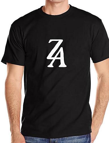 Bomull Kortermet,Rund hals T-skjorte Bokstaver Enkel Fritid/hverdag Herre