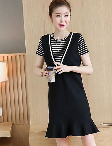 Women's T-shirt - Solid Colored Striped Dress Crew Neck