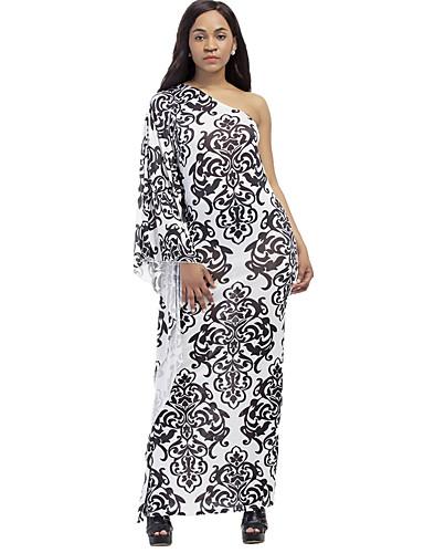 Women's Plus Size Boho Bodycon Sheath Dress Print Maxi One Shoulder