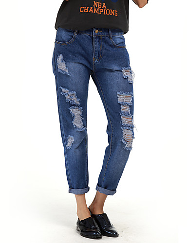 Women's Medium Waist strenchy Harem Jeans Pants,Casual Sexy Street chic Solid Cotton Spring Summer Fall