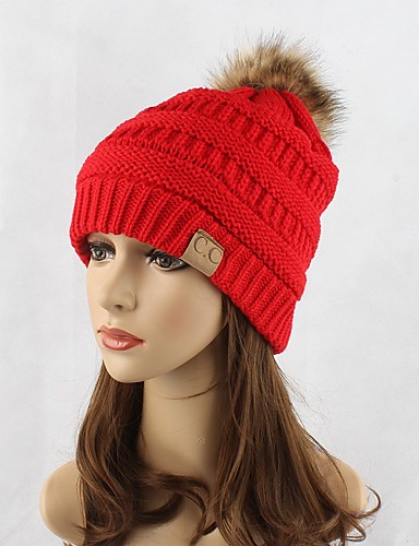 bde038b3 Women's Headwear Chic & Modern Knitwear Cotton Beanie / Slouchy Floppy Hat-Solid  Colored Pure Color Fashion Fall Winter Red Navy Blue Gray / Cute