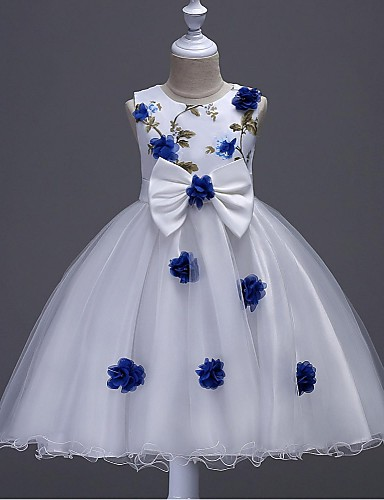 Ball Gown Knee Length Flower Girl Dress - Organza Sleeveless Jewel Neck with Appliques Embroidery Flower Zipper Ruched by
