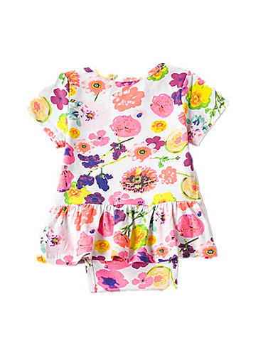 Baby Girls' Print Blouse, Acrylic Polyester Summer Floral Short Sleeve Blushing Pink