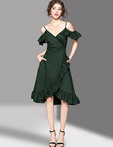 Women's Sheath Dress - Solid Colored Strap