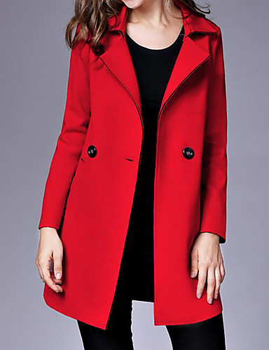 Women's Coat - Solid Colored Shirt Collar