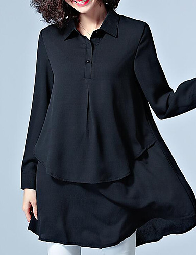Women's Daily Work Plus Size Vintage Casual Street chic Spring Summer Shirt,Solid Shirt Collar Long Sleeves Others Medium