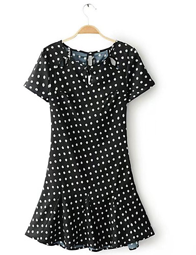 Women's Going out Casual/Daily Simple Street chic Sheath Dress,Polka Dot Round Neck Mini Short Sleeves Rayon Summer Mid Rise Inelastic