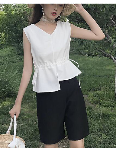 Women's Daily Modern/Contemporary Summer Shirt Pant Suits,Solid V Neck Sleeveless 100% Cotton