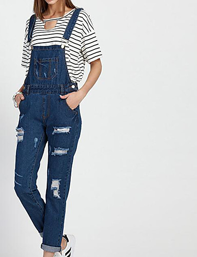 Women's Straight Overalls Relaxed Pants - Solid Textured, Pure Color High Waist