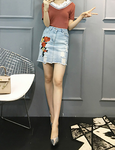 Women's Daily Casual Summer Blouse Skirt Suits,Solid V Neck Short Sleeve Lace Spandex Micro-elastic
