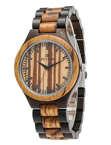 Homens Relógio Madeira Japanês Quartzo de madeira Madeira Banda Luxo Elegant Preta Marrom