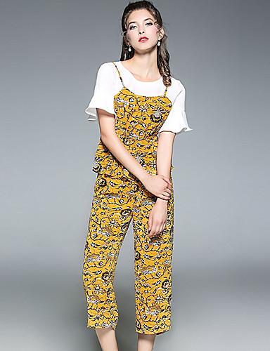 Polyester Elastisk Kort Erme,Rund hals T-skjorte Bukse Drakter Printer Sommer Sexy Fritid/hverdag Dame