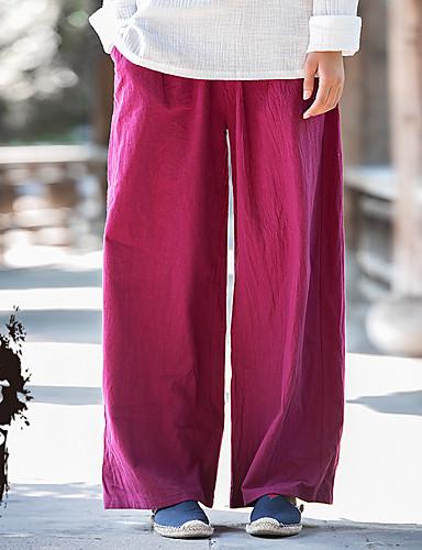 Dame Gatemote Posebukser Løstsittende Bukser,Avslappet Medium Midje Ren Farge Ensfarget