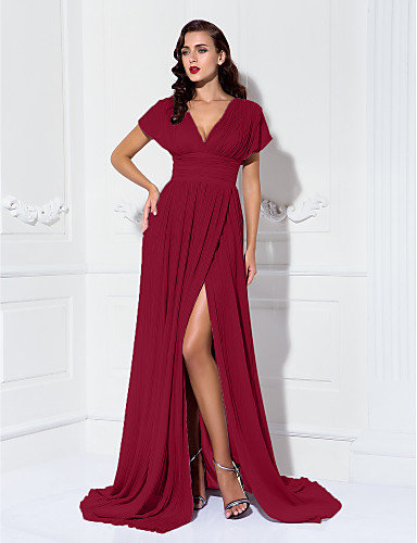 cheap Evening Dresses-Sheath / Column V Neck Sweep / Brush Train Chiffon Formal Evening Dress with Ruched / Pleats by TS Couture®