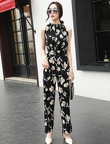 Women's Daily Casual Floral Halter Jumpsuits