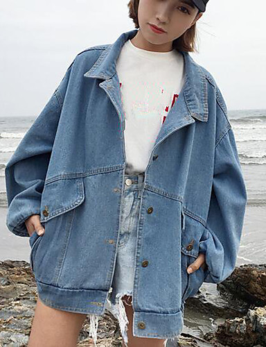 Women's Daily Modern/Contemporary Spring Denim Jacket,Print Letter Shirt Collar Long Sleeve Long Polyester Others