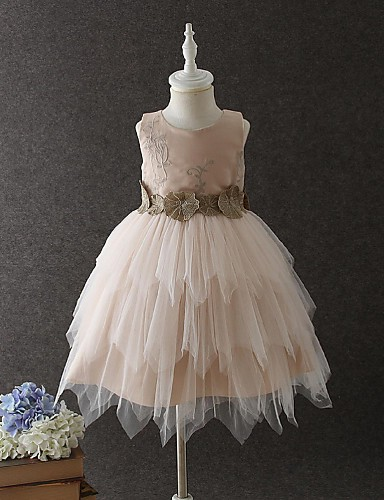 Ball Gown Short / Mini Flower Girl Dress - Organza Sleeveless Jewel Neck with Appliques / Lace / Ruched by
