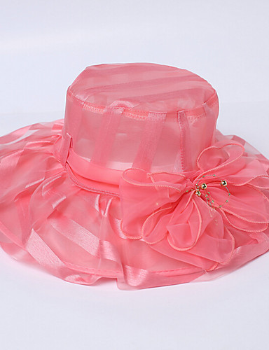 Women's Organza Bucket Hat Floppy Hat Sun Hat,Hat Flower Solid Spring/Fall Summer Mixed Color