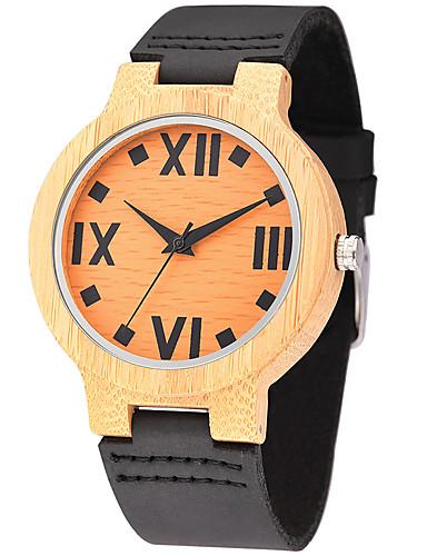 Herre Klokke Ull Unike kreative Watch Armbåndsur Moteklokke Sportsklokke Hverdagsklokke Quartz Av Tre Ekte lær Band Luksus Kreativ Fritid