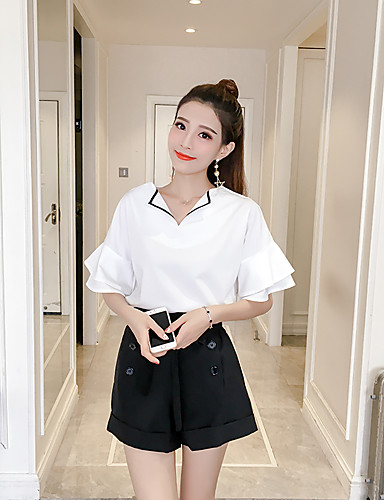Women's Daily Casual Casual Summer T-shirt Pant Suits,Solid V Neck Short Sleeve Bow Others Inelastic