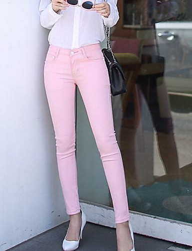 Women's Casual Skinny Pants - Solid Colored