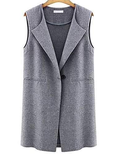 Women's Daily Simple Casual Fall Vest,Solid Shirt Collar Sleeveless Long Polyester