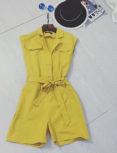 Women's Work Casual/Daily Simple Solid Colored V Neck Rompers