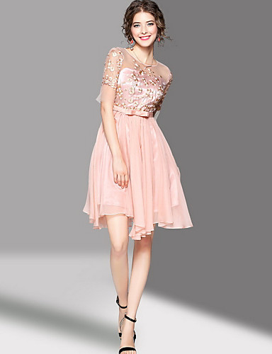 Women's Going out Cute A Line Dress,Embroidered Round Neck Knee-length Half Sleeves Polyester Summer Mid Rise Micro-elastic Medium