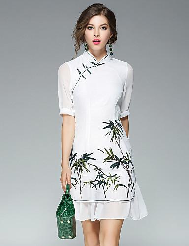 Women's Street chic Shift Dress - Embroidered Mesh