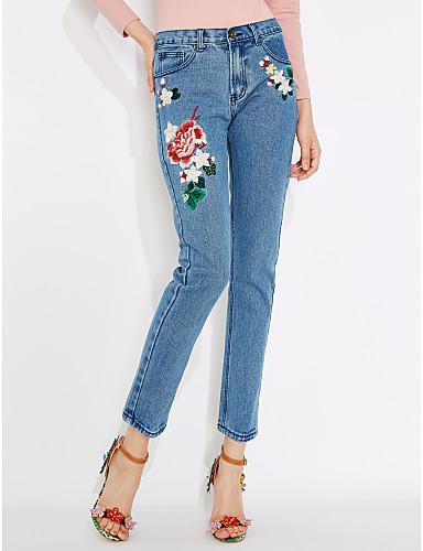 Women's Mid Rise Micro-elastic Jeans Pants,Street chic Vintage Slim Straight Print
