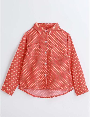 Girls' Polka Dot Shirt, Cotton Spring Fall Long Sleeves Orange