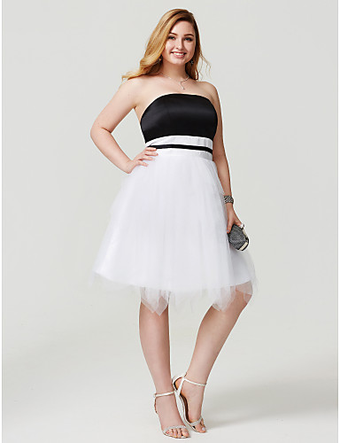 Plus Size Princess / Fit & Flare Strapless Knee Length Satin / Tulle Cocktail Party / Homecoming / Prom / Holiday Dress with Sash / Ribbon / Pleats
